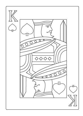 King Of Hearts Card Coloring Page Sketch